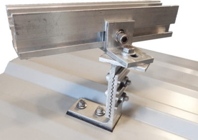 Adjustable Anchor Swivel Head Mount for corrugated or shingled roofs.
